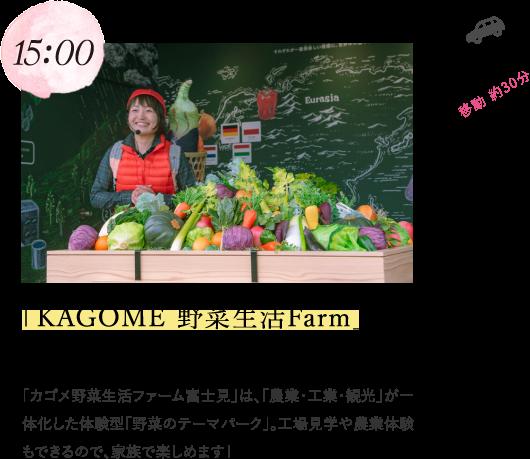 15:00 「KAGOME 野菜生活Farm」で工場見学 「カゴメ野菜生活ファーム富士見」は、「農業・工業・観光」が一体化した体験型「野菜のテーマパーク」。工場見学や農業体験もできるので、家族で楽しめます!