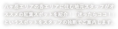 八ヶ岳エリアの各エリアに住む地元スタッフがオススメの紅葉スポットを紹介!「迷ったらココ!」というスポットをスタッフの独断でご案内します。