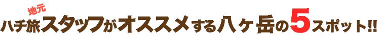 ハチ旅地元スタッフがオススメする八ヶ岳の5スポット!!